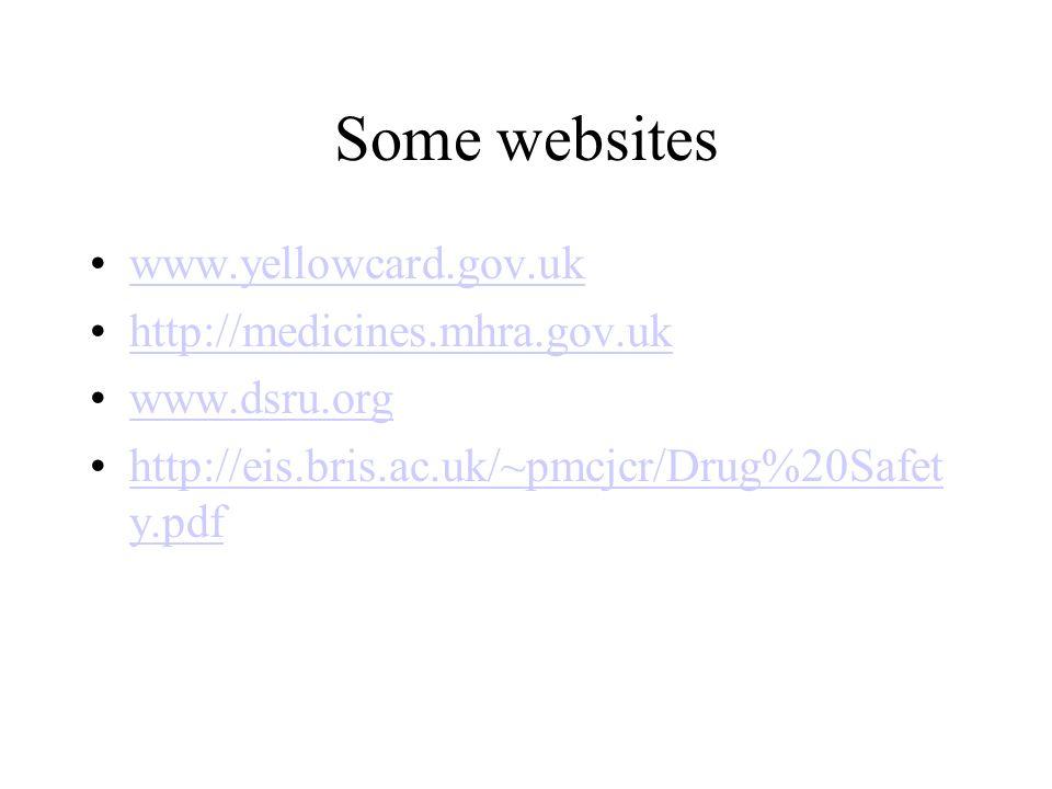 Some websites www.yellowcard.gov.uk http://medicines.mhra.gov.uk