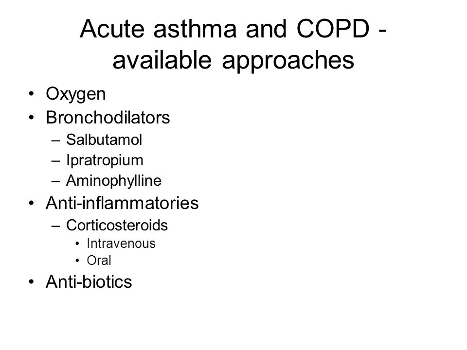 Acute asthma and COPD - available approaches