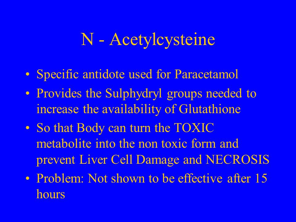 N - Acetylcysteine Specific antidote used for Paracetamol