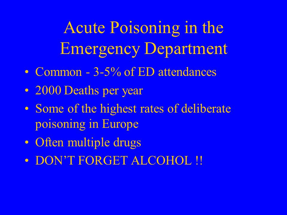 Acute Poisoning in the Emergency Department
