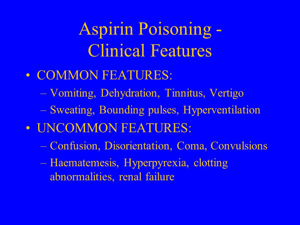 Aspirin Poisoning - Clinical Features