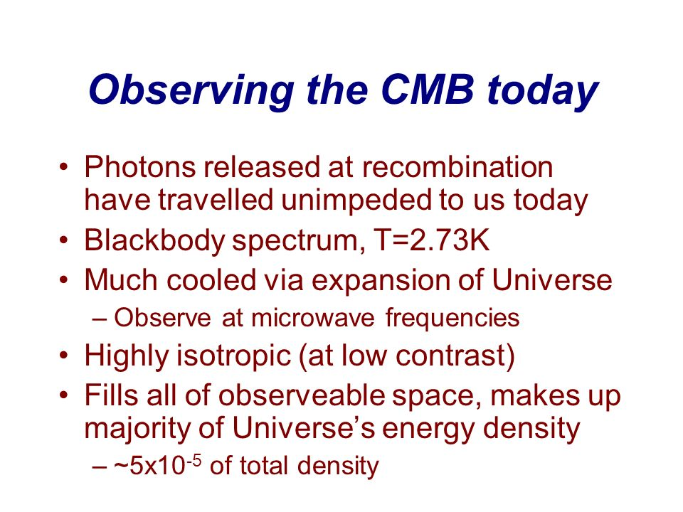 Observing the CMB today