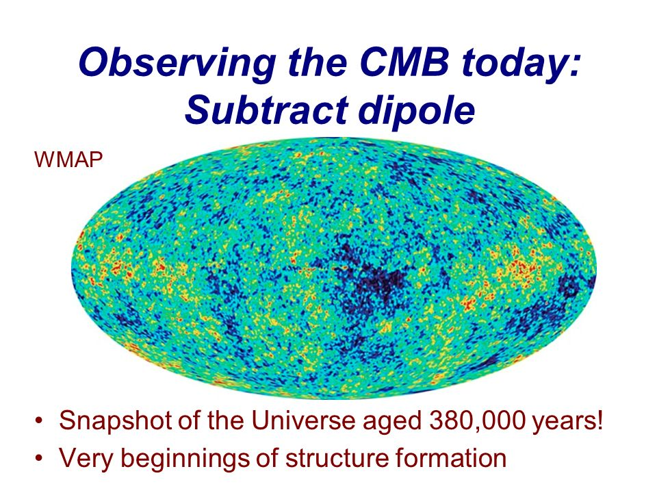 Observing the CMB today: Subtract dipole