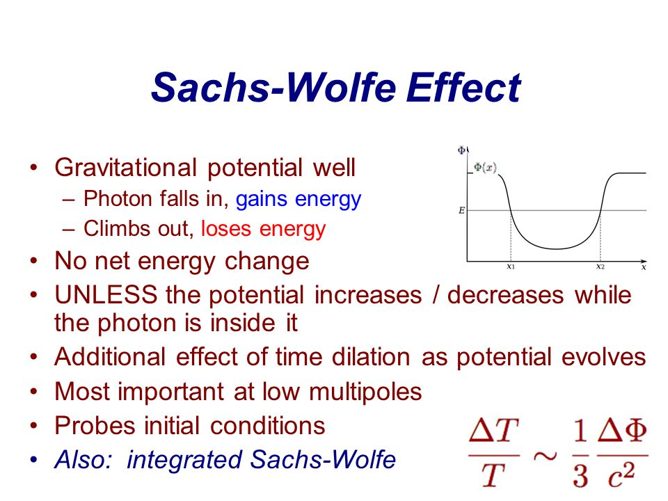 Sachs-Wolfe Effect Gravitational potential well No net energy change
