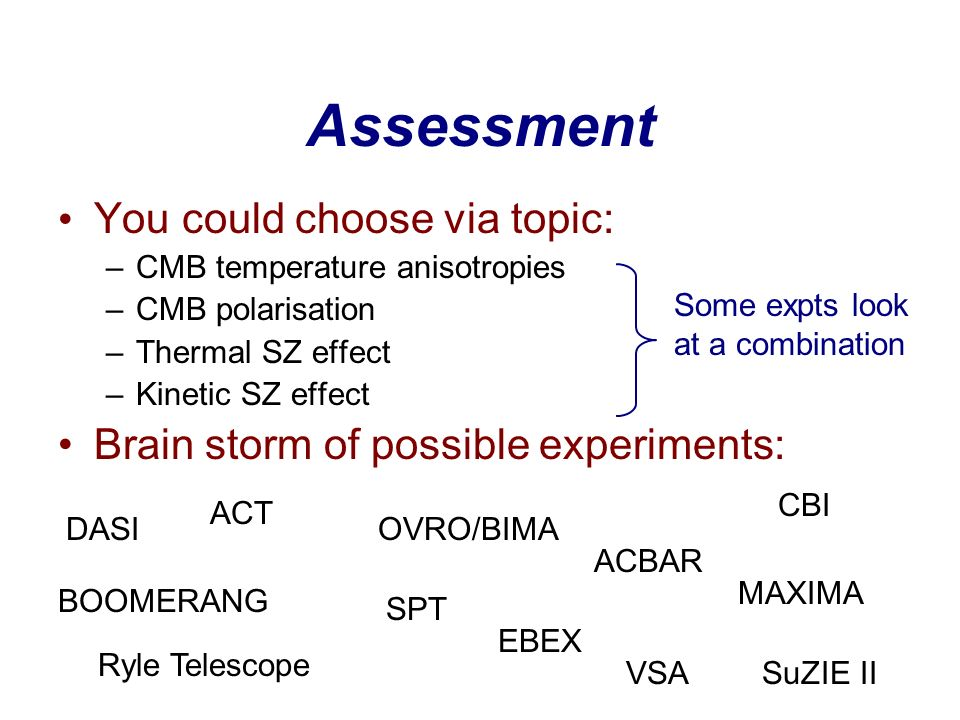 Assessment You could choose via topic: