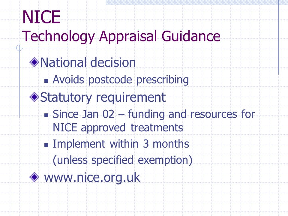NICE Technology Appraisal Guidance