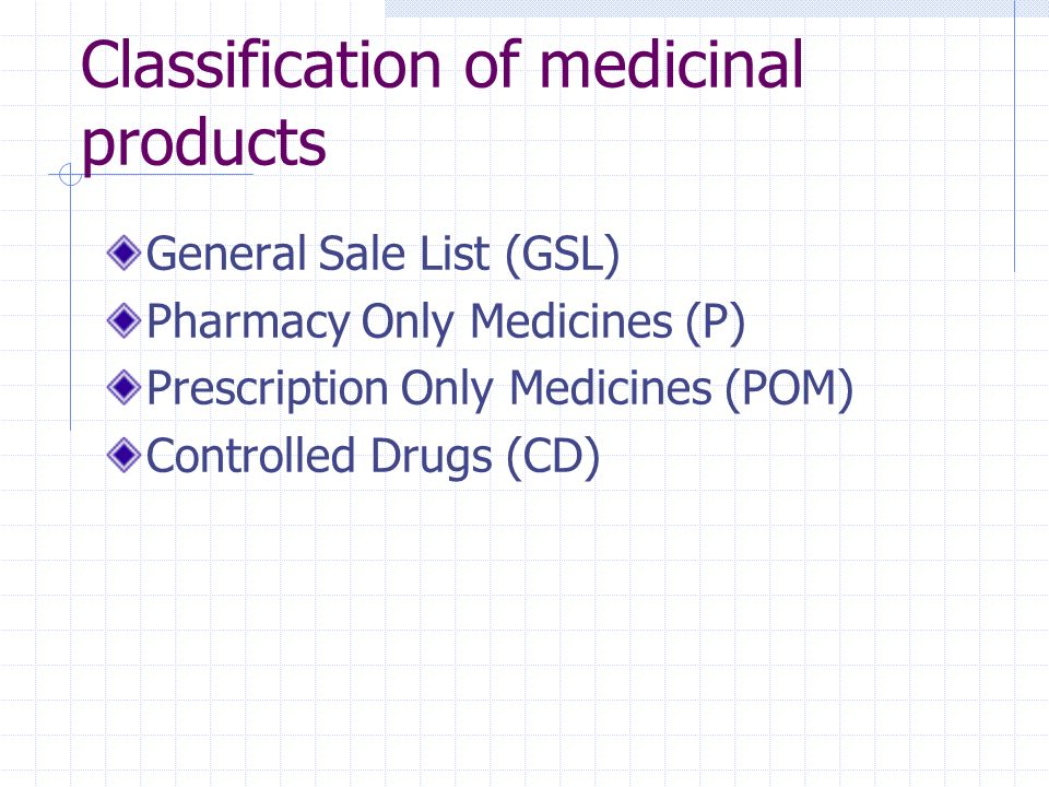 Classification of medicinal products