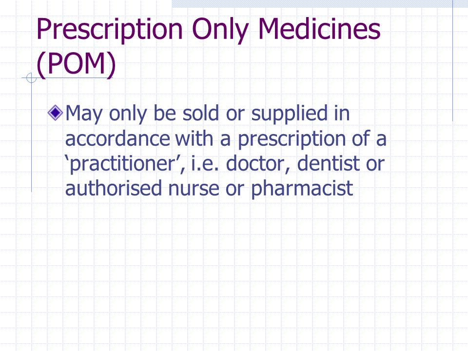 Prescription Only Medicines (POM)