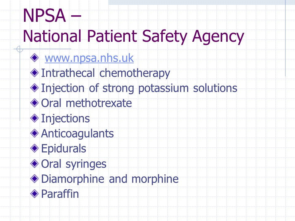 NPSA – National Patient Safety Agency