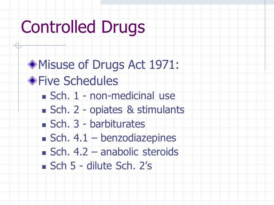 Controlled Drugs Misuse of Drugs Act 1971: Five Schedules
