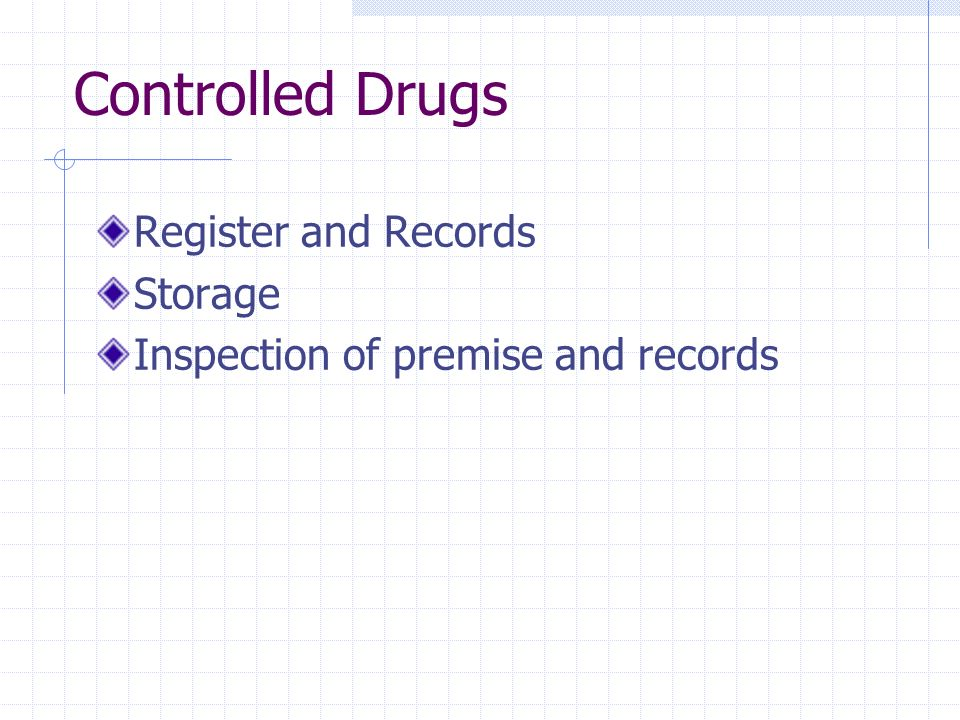 Controlled Drugs Register and Records Storage