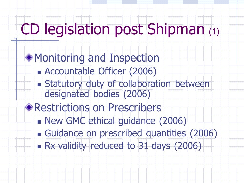 CD legislation post Shipman (1)