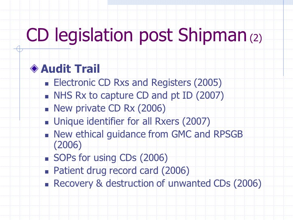 CD legislation post Shipman (2)
