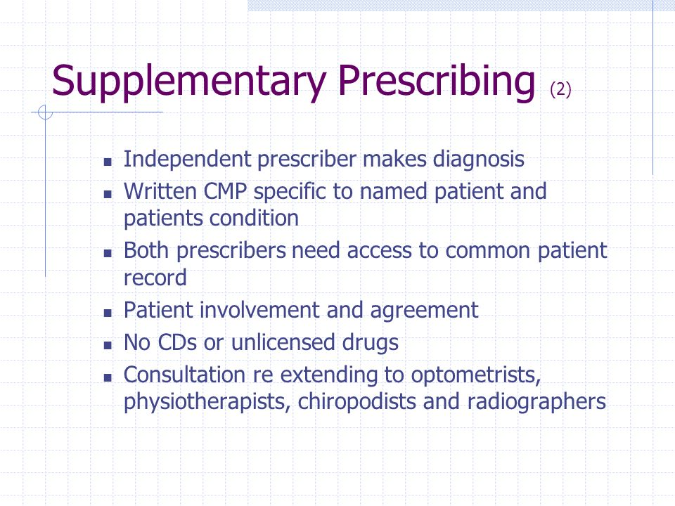Supplementary Prescribing (2)