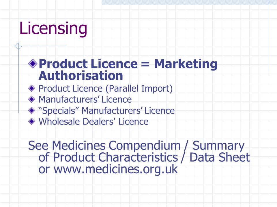 Licensing Product Licence = Marketing Authorisation