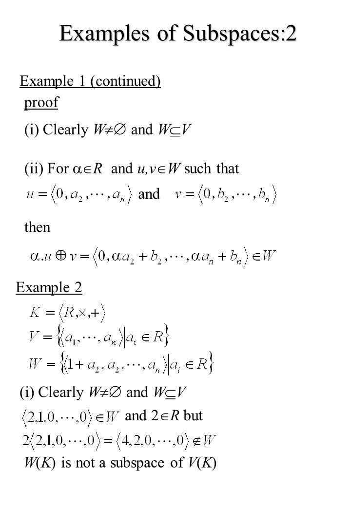Examples of Subspaces:2