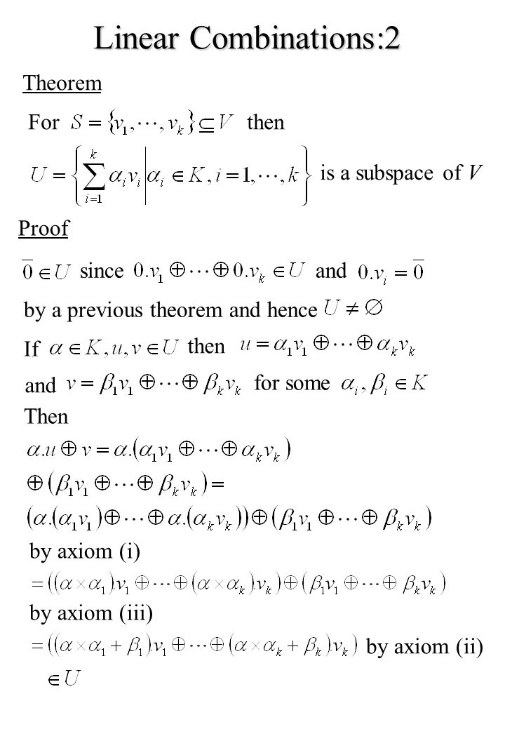 Linear Combinations:2 Theorem For then is a subspace of V Proof since