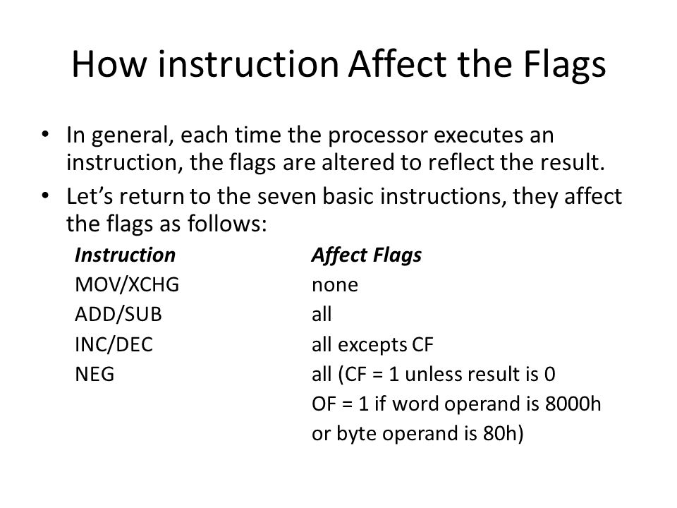 How instruction Affect the Flags