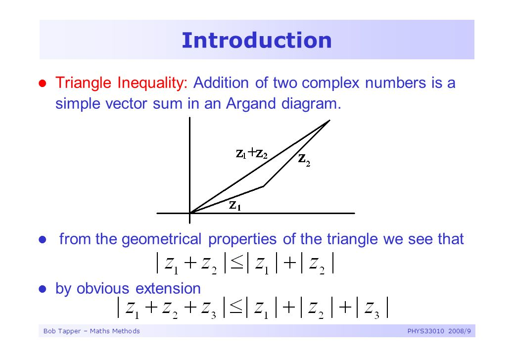 Introduction Triangle Inequality: Addition of two complex numbers is a simple vector sum in an Argand diagram.