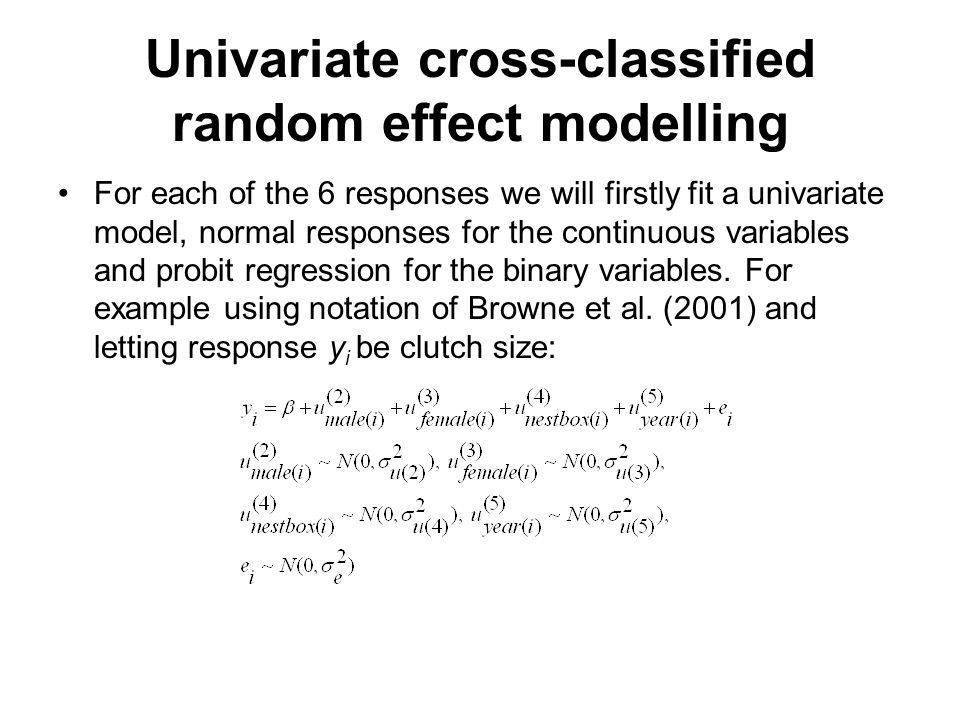 Univariate cross-classified random effect modelling