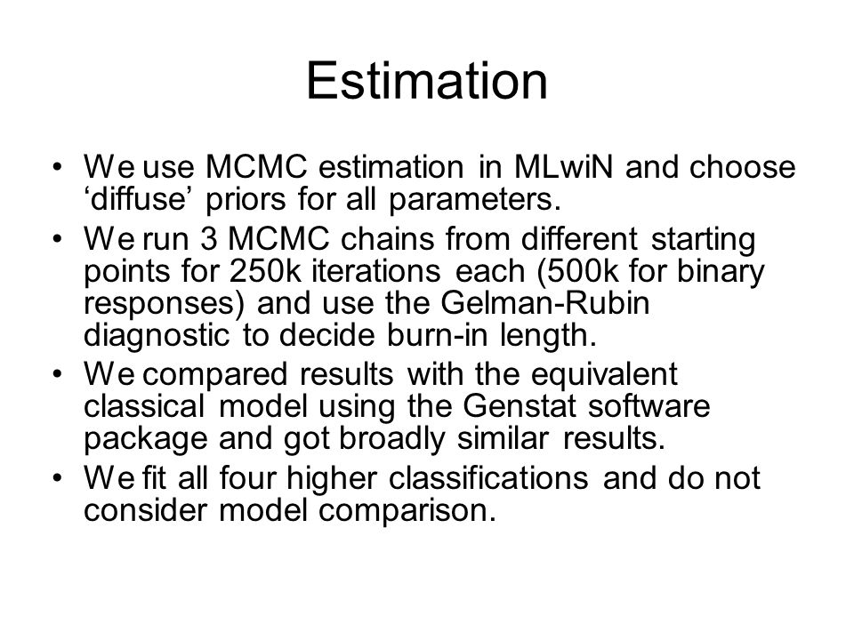 EstimationWe use MCMC estimation in MLwiN and choose 'diffuse' priors for all parameters.