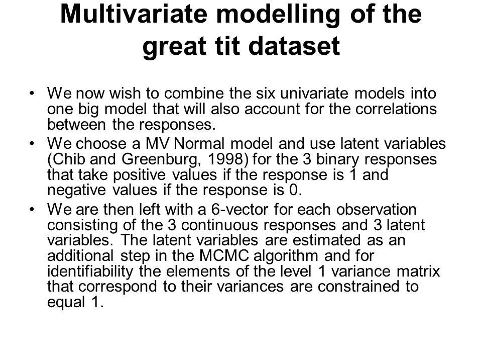 Multivariate modelling of the great tit dataset