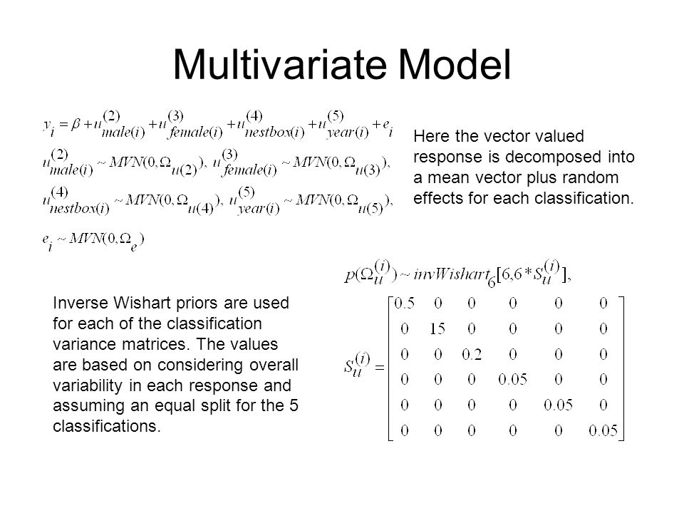 Multivariate ModelHere the vector valued response is decomposed into a mean vector plus random effects for each classification.