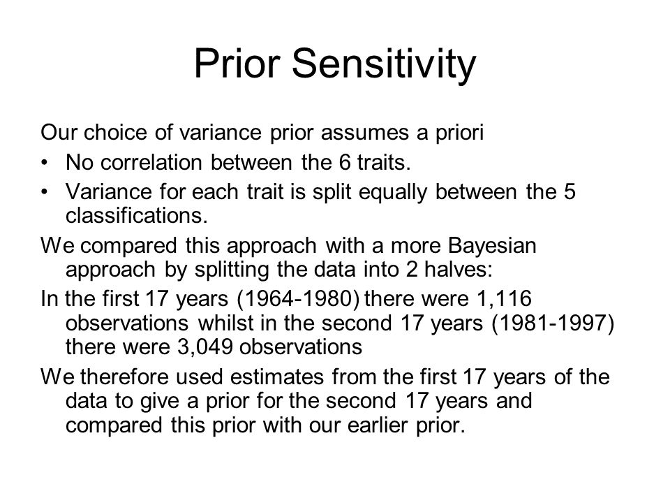 Prior Sensitivity Our choice of variance prior assumes a priori