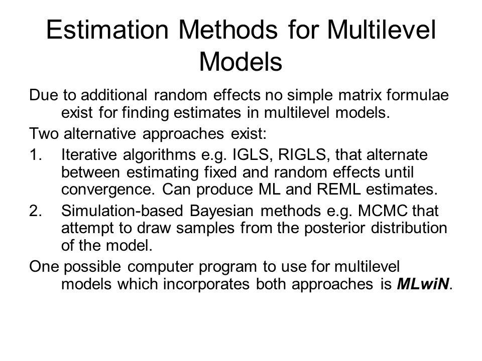 Estimation Methods for Multilevel Models