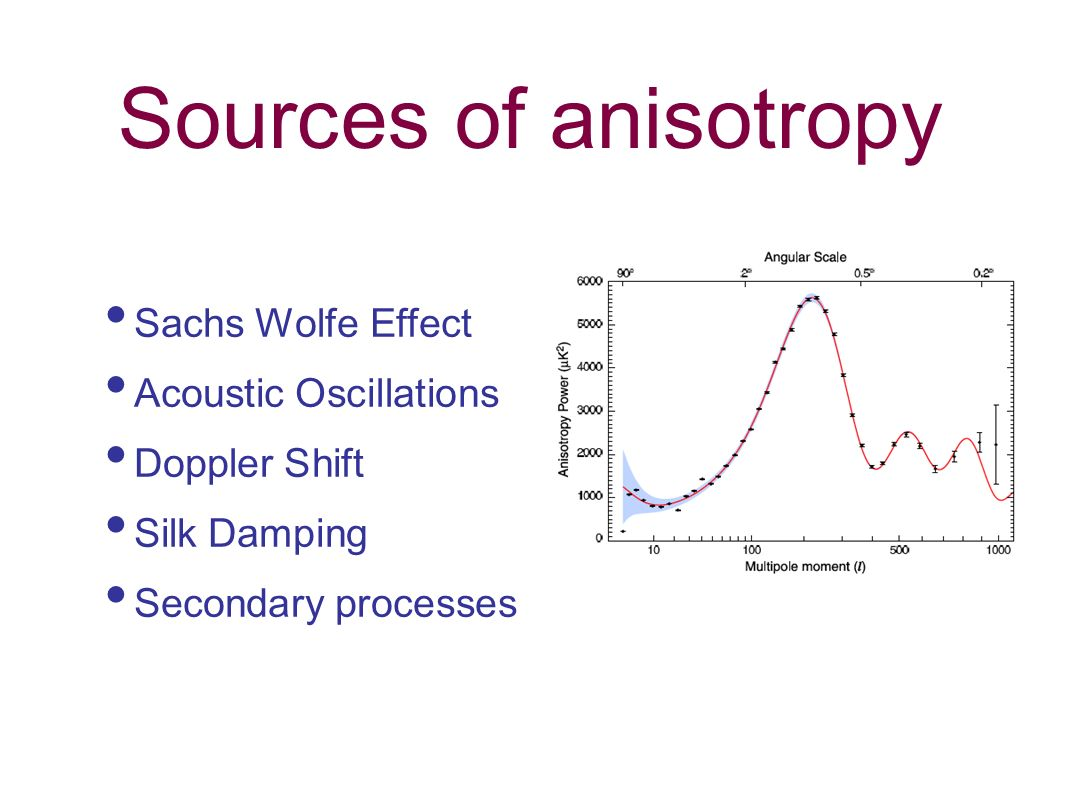 Sources of anisotropy Sachs Wolfe Effect Acoustic Oscillations