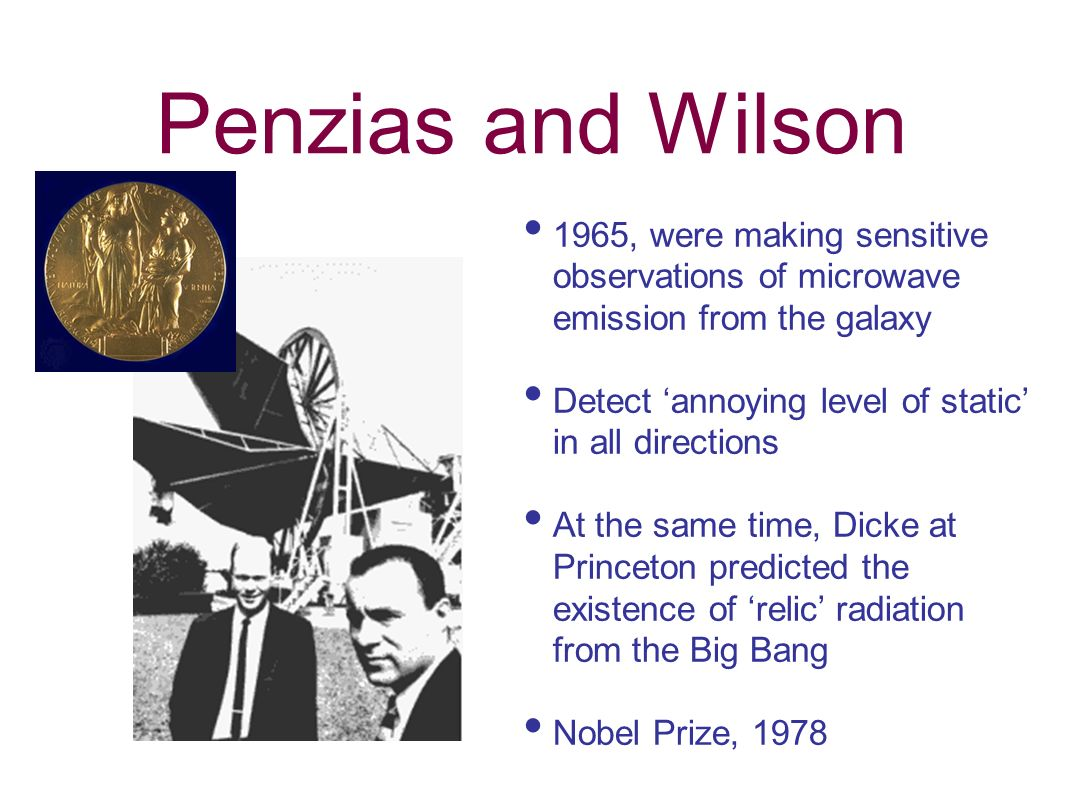 Penzias and Wilson 1965, were making sensitive observations of microwave emission from the galaxy.
