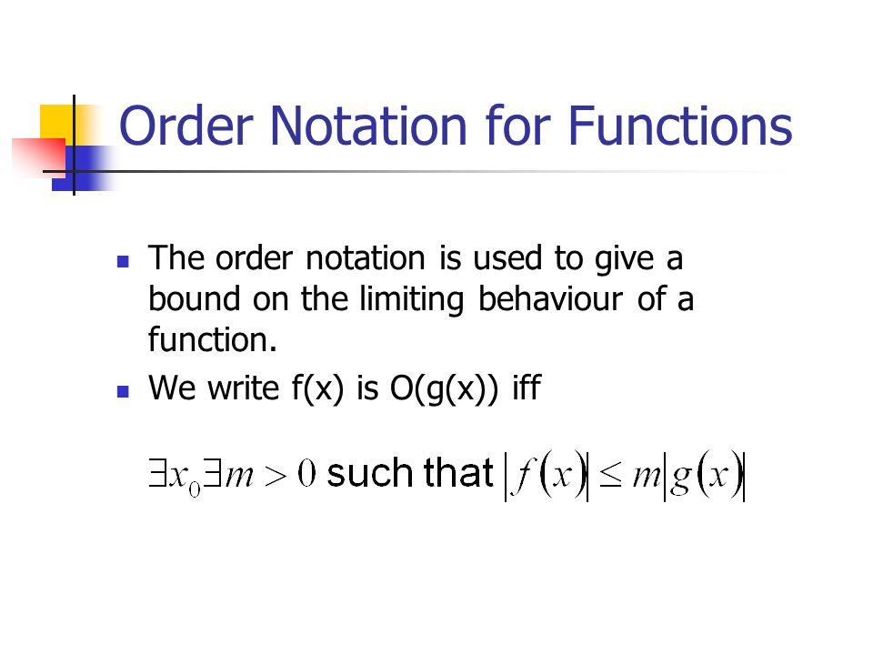 Order Notation for Functions