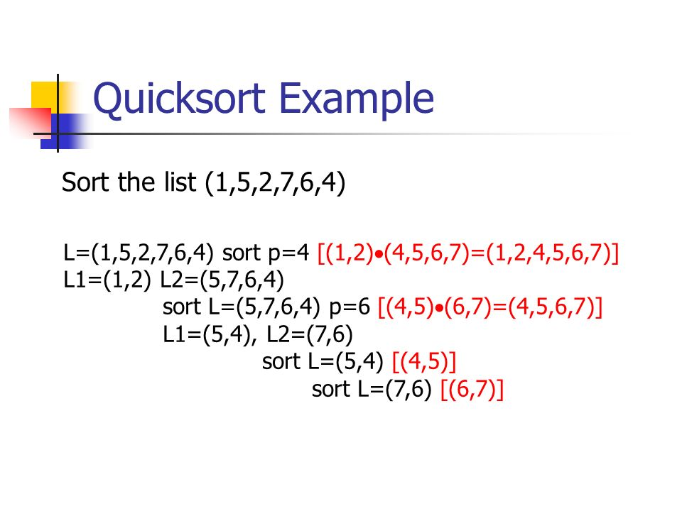 Quicksort Example Sort the list (1,5,2,7,6,4)