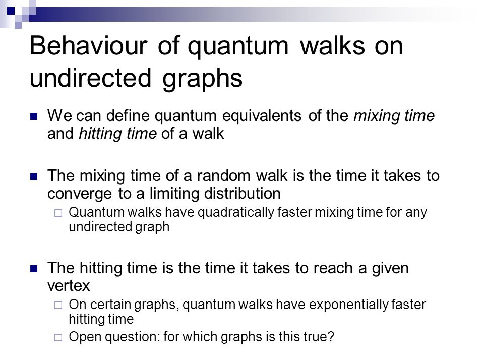 Behaviour of quantum walks on undirected graphs
