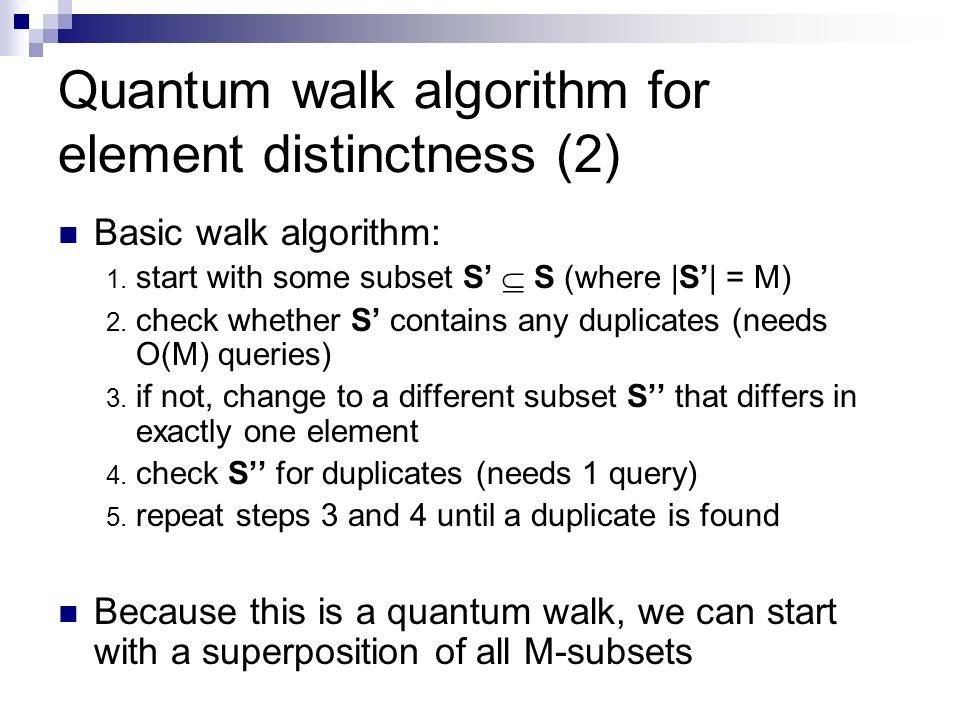 Quantum walk algorithm for element distinctness (2)