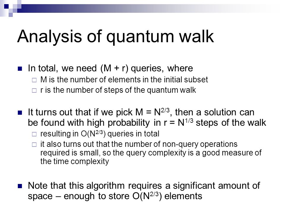 Analysis of quantum walk