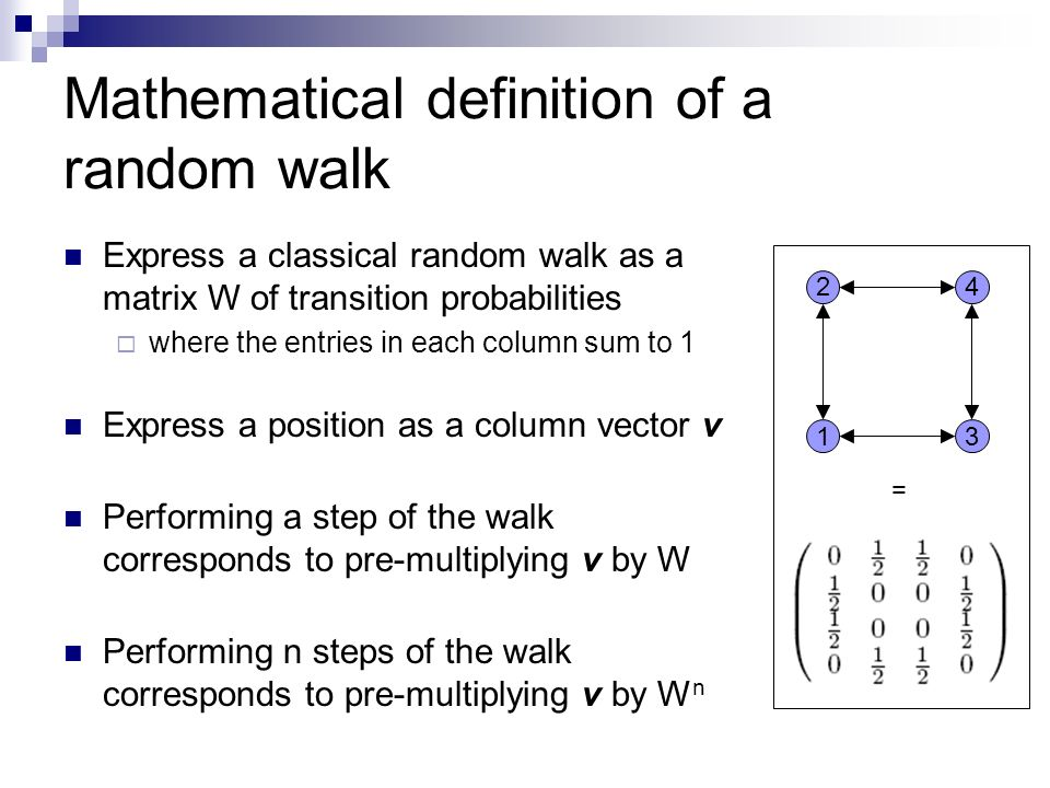 Mathematical definition of a random walk