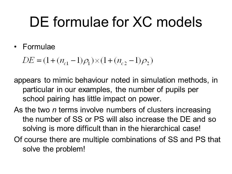 DE formulae for XC models
