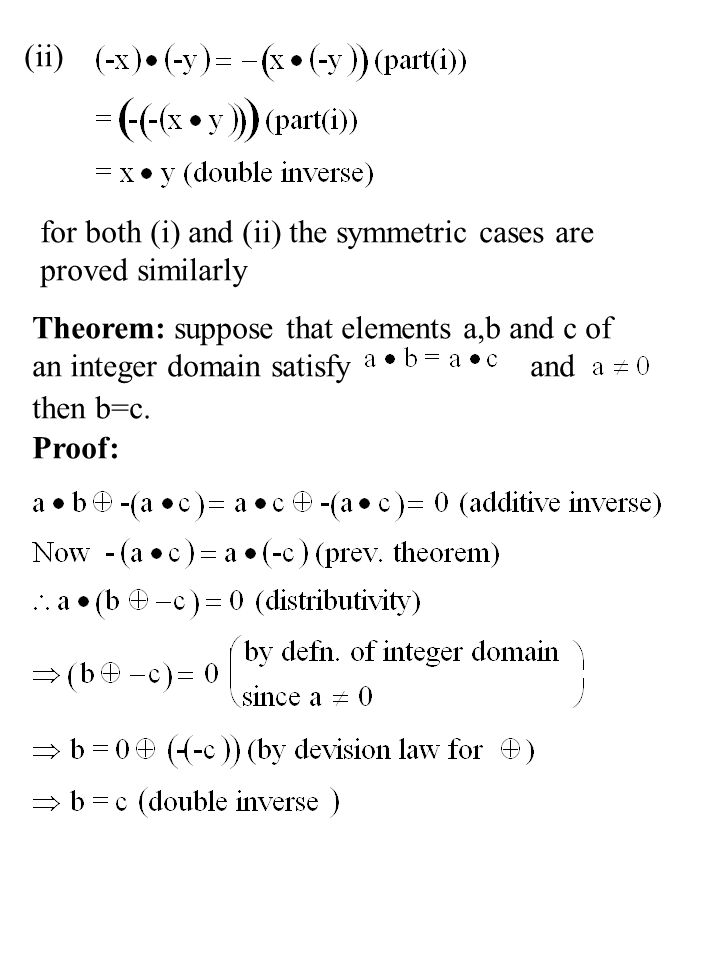 (ii) for both (i) and (ii) the symmetric cases are. proved similarly. Theorem: suppose that elements a,b and c of.