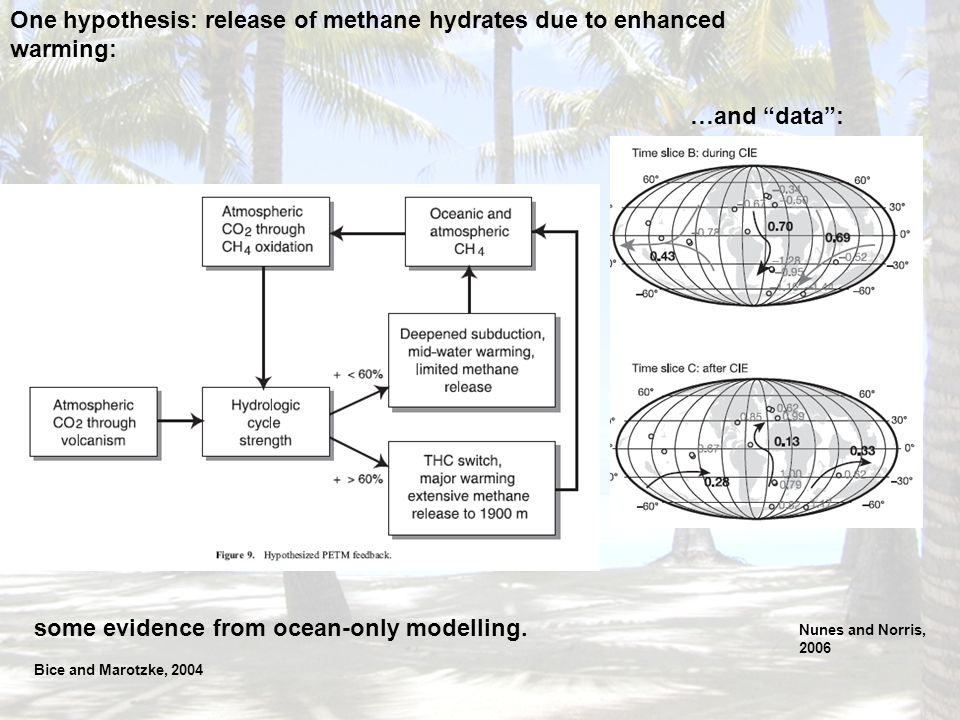 One hypothesis: release of methane hydrates due to enhanced warming: