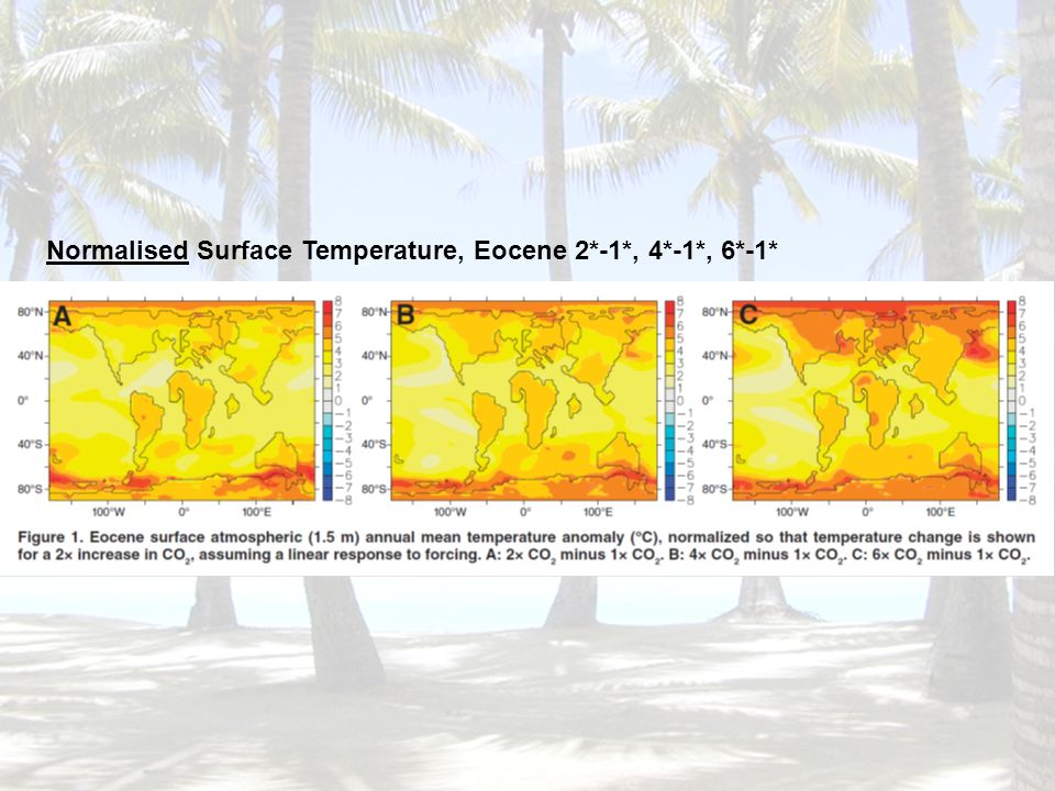 Normalised Surface Temperature, Eocene 2*-1*, 4*-1*, 6*-1*