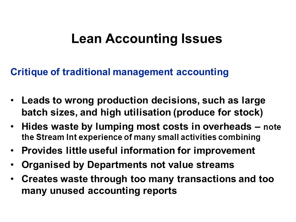 Lean Accounting Issues