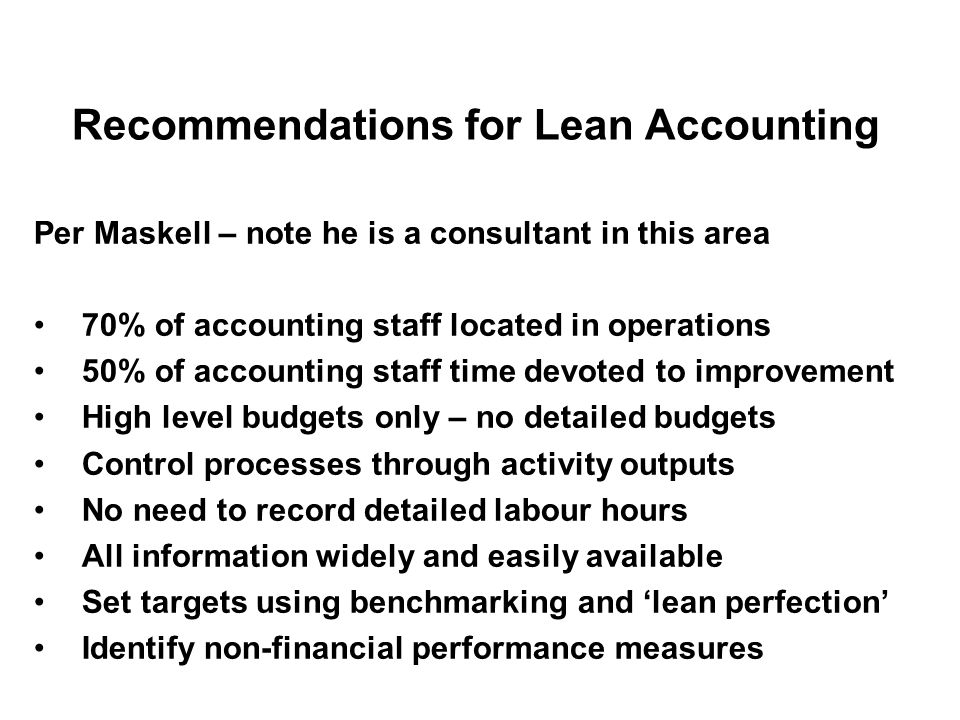 Recommendations for Lean Accounting