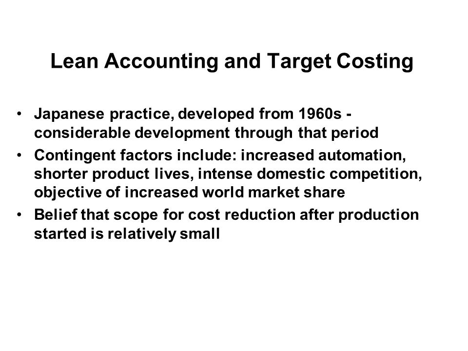Lean Accounting and Target Costing