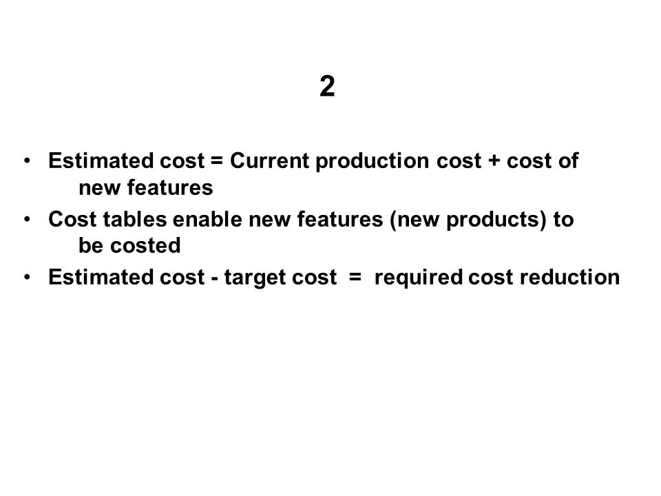 2 Estimated cost = Current production cost + cost of new features