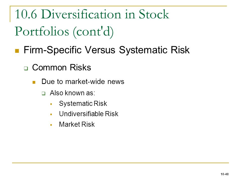 diversification in stock portfolios Regardless of which stocks are the winners, a well-diversified stock portfolio  tends to earn the market's average long-term historic return.