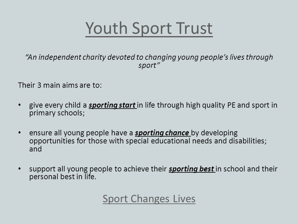 Youth Sport Trust Sport Changes Lives