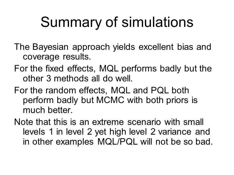 Summary of simulations