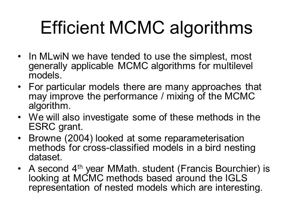 Efficient MCMC algorithms