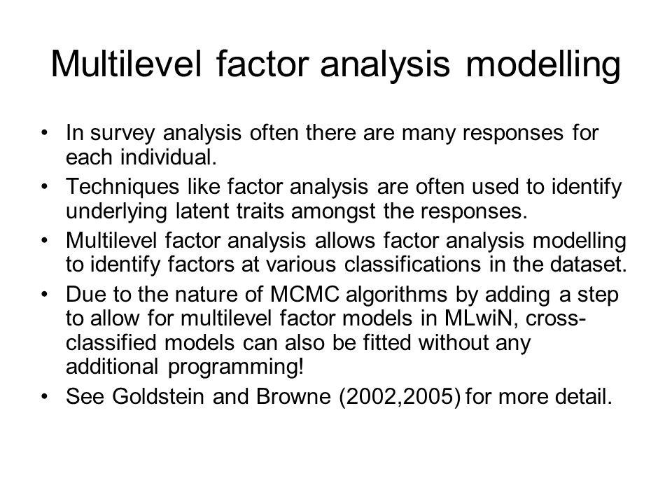 Multilevel factor analysis modelling